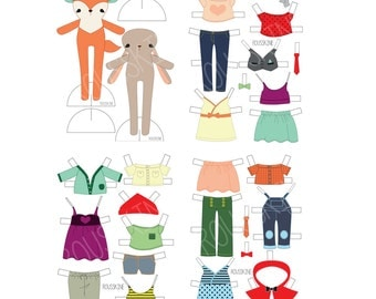 printable fox and bunny paper doll - digitally colored