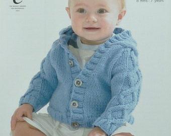 King Cole Knitting Patterns To Download : PDF Knitting Pattern for an ARAN Baby/ Girls Cardigan - To Fit 16