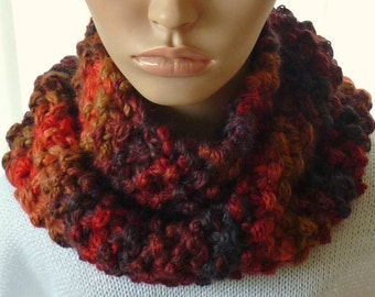 Hand Knitted Super Chunky (Super Bulky) Women's Multi Coloured Snood/Cowl