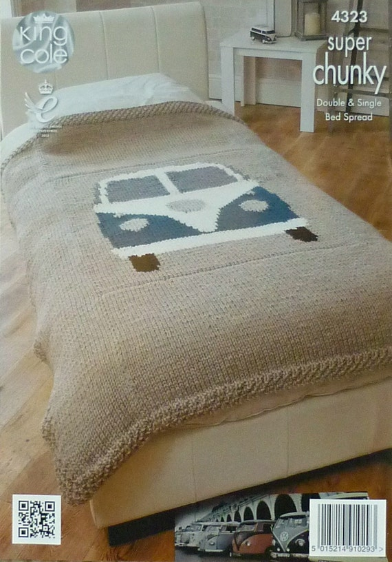 Vw Campervan Knitting Pattern : Blanket Knitting Pattern K4323 VW Campervan Single Bed