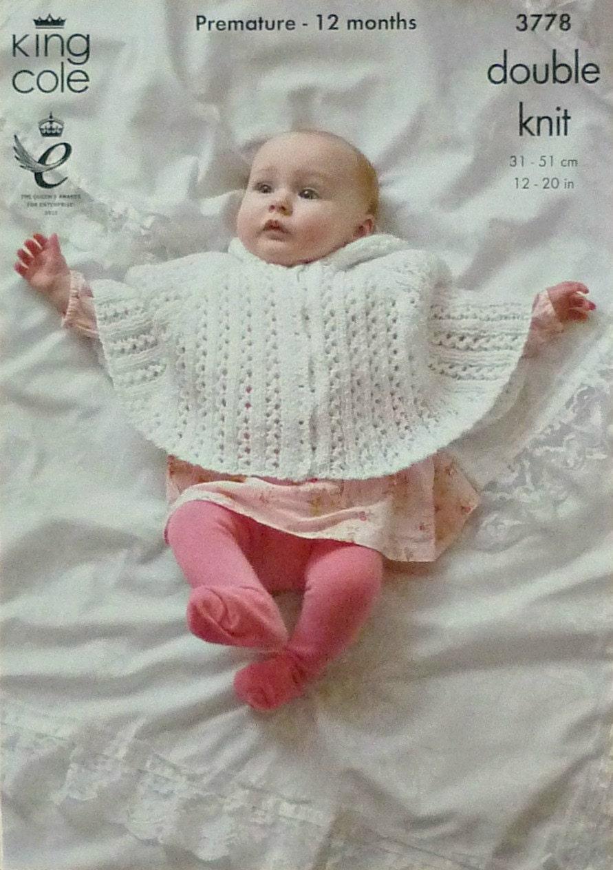 Baby Knitting Pattern K3778 Babies Lacy Hooded Poncho Knitting Pattern DK (Li...