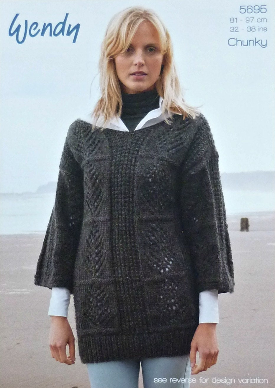 Ladies Tunic Knitting Patterns : Womens Knitting Pattern W5695 Ladies Leaf and Textured Tunic and Jumper Knitt...