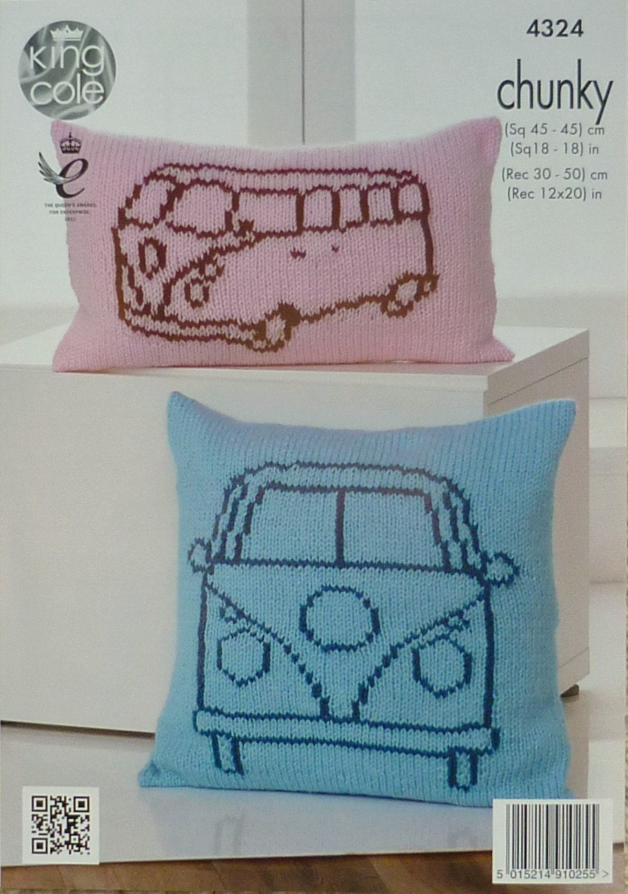 Vw Campervan Knitting Pattern : Cushion Knitting Pattern K4324 VW Campervan Outline Cushions Knitting Pattern...