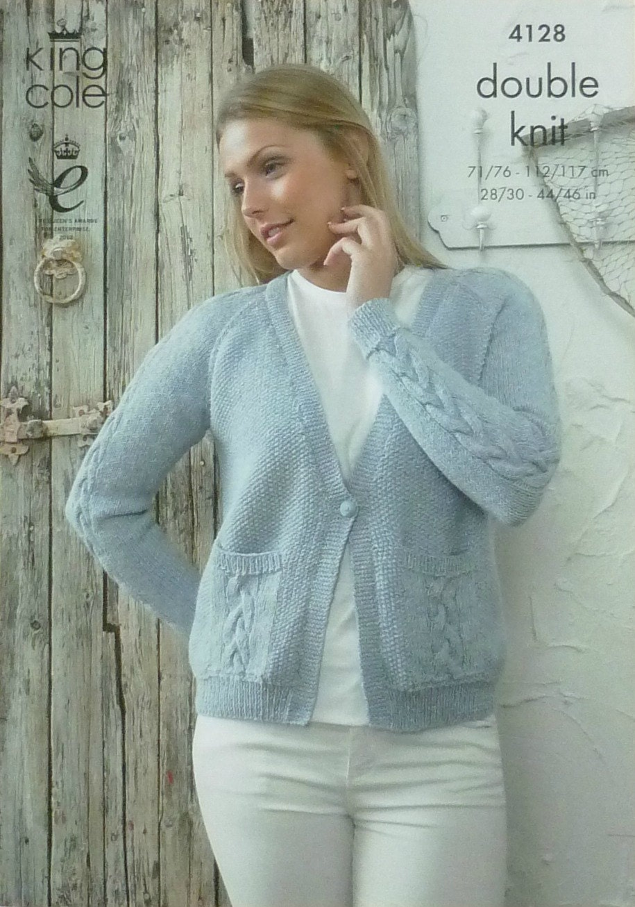 Womens Knitting Pattern K4128 Ladies Long Sleeve V-Neck Moss Stitch and Cable...