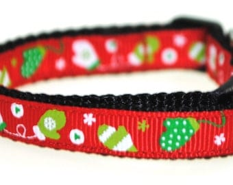 "Winter Gloves on Red 3/8"" Adjustable Dog Collar"