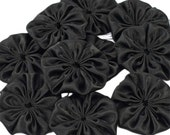 Fabric flowers, black, handmade, 10pcs, DIY, craft set, deco