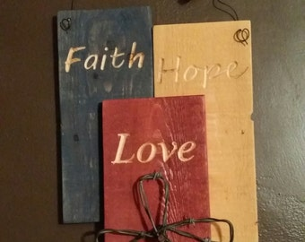 Faith Hope Love barnwood wall hanging