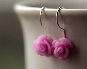 Lilac Purple Rose Earrings. Dangle Earrings. Lilac Purple Earrings. Flower Earrings with Silver Hooks. Flower Jewelry. Handmade Jewelry.