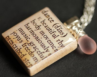 Dance Necklace. Dictionary Quote Necklace. Scrabble Tile Necklace with Glass Teardrop. Scrabble Pendant. Handmade Jewelry. Scrabble Necklace
