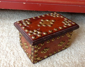 Chunky Wood Vintage  Jewelry  Pirate treasure Chest Jewelry Box with brass tacks