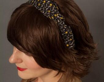 Rockabilly Headband - Black with Yellow Flowers