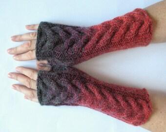 Fingerless Gloves Gray Red Burgundy wrist warmers