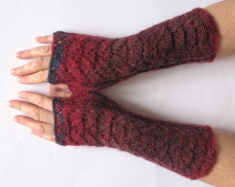 Fingerless Gloves Red Blue Azure Gray wrist warmers