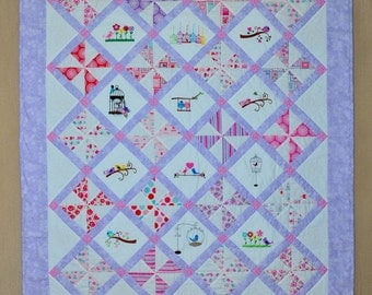 Baby Quilt Embroidered Birdies - A Little Birdie Told Me Baby Quilt