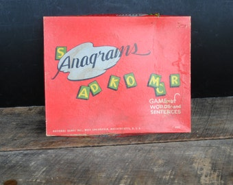 Vintage Anagrams Game Words and Sentence by National Games of West Springfield Mass
