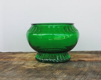 Vintage Dark Green Glass Vase Bowl By Napco