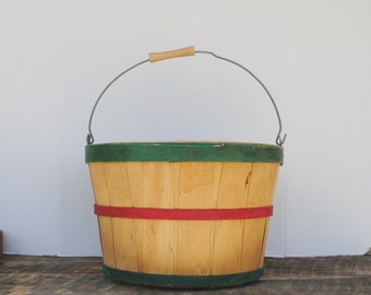 Vintage Orchard Basket with Handle Red Green and Natural Round Split Wood