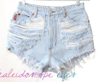 Vintage BONGO Pale Blue DESTROYED High Waist Trashed Denim Cut Off Shorts S