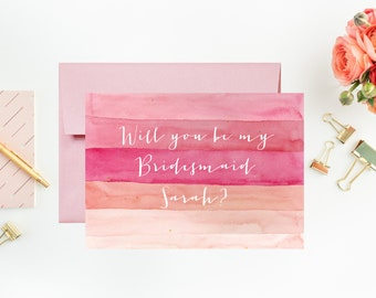 Will you be my bridesmaid watercolor card, bridesmaid, personalized, watercolor, thefindsac
