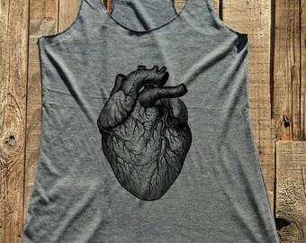 Big Heart shirt - Anatomy - Love - Humor gift funny tank racerback tri-blend women's