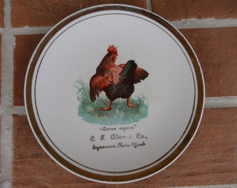 vintage advertising plate rooster chicken 1900's Syracuse NY collectible