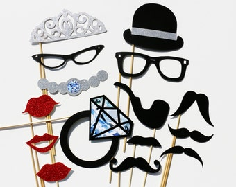 Best Wedding Photo Booth Prop - 15 Piece GLITTER Set - Mustache Photobooth Party Props