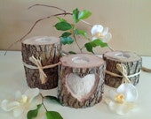 TREASURY ITEM - Tree branch candleholders - Heart candle -  Wedding candles- Wood Candle - Unity candle - Anniversary
