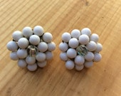 White and iridescent Vintage Clip-On Earrings