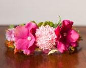 Flower Crown - Flowergirl hairpiece - Hot Pink Wedding - Newborn Photo Prop - Wedding Crown - Floral Hairpiece