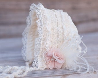 Baby Bonnet - Ivory Newborn Photo Prop - Vintage Inspired Prop - Baby Hat - Newborn Bonnet