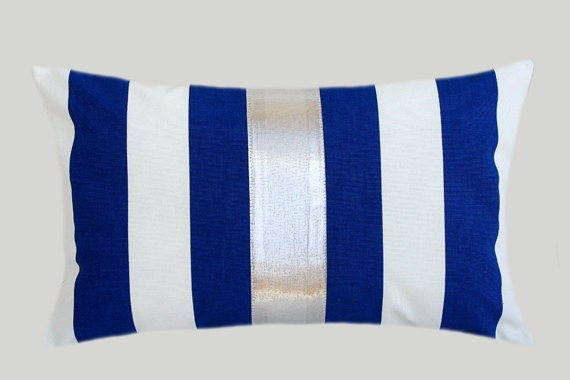 Royal Blue And White Throw Pillows : Decorative Pillow Case Striped Royal Blue-White Cotton fabric