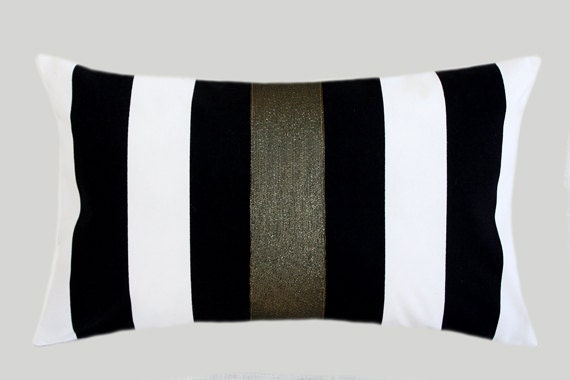 Black Decorative Pillow Cases : Decorative Pillow Case Striped Black-White Cotton fabric