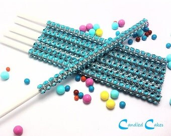 16 - TURQUOISE Cake Pop Bling Sticks - Free US Shipping