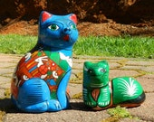 Vintage Cats Hand Painted on Clay From Mexico