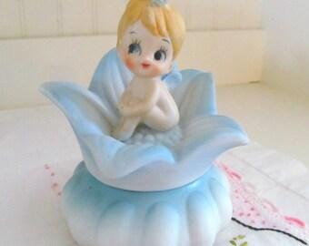 Vintage 1960s Ceramic Artmark Pixie Trinket Box, Flower Fairy Jewelry Box, Kitsch Blue Elf Box