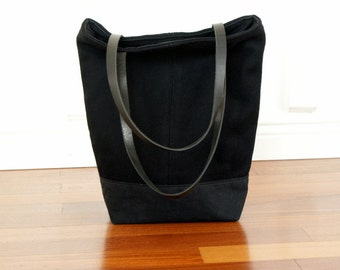 Black Waxed Canvas Tote / Black wool  / Leather Straps / Tote bag