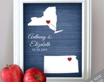 Love Map - State or Country Map : Custom Engagement Gift / Bridal Shower Present - Two locations - Newlywed gift - Unframed