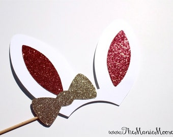 Easter Photo Booth Props ~ Bunny Ears with Glitter ~ Brown or White Ears Available!
