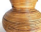 Rattan bamboo lamp table organic TEXTURE tiki vase or wide pot shape O-Asian 1960s 1970s beach decor