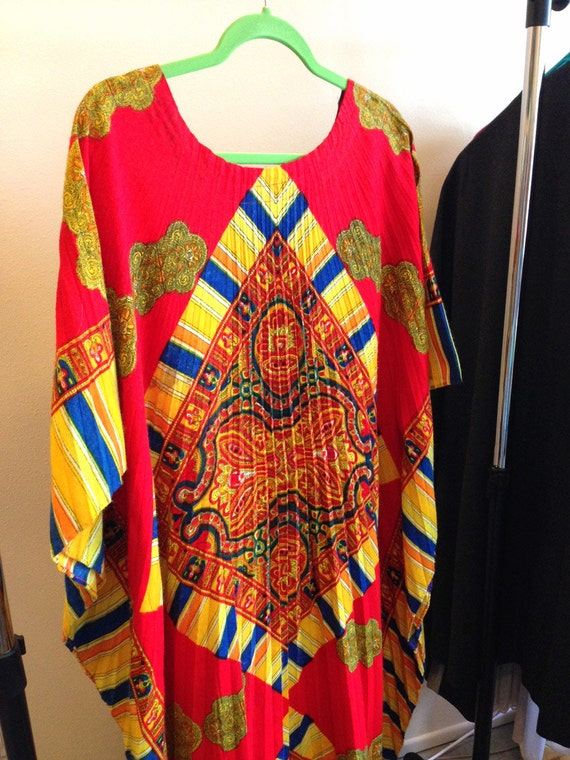 Georgie Keyloun Dress Hostess Caftan Lounge Psychedelic