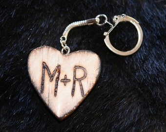Valentines heart wood key chain engraved with initials