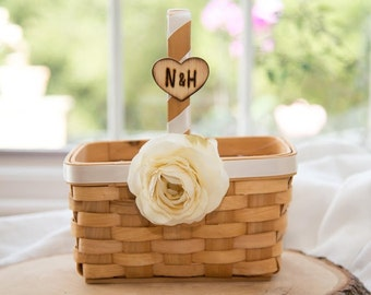 Rustic Personalized Wood Squared basket with silk ivory ranunculus over 60 flowers to select from hand engraved wood heart with initials.
