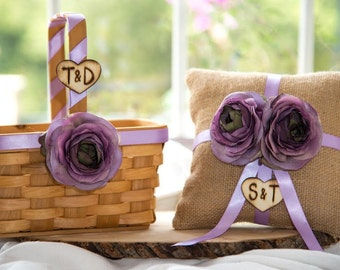 Rustic Wood flower Girl Basket and Burlap  Ring Bearer Pillow Set Customize with your wedding colors