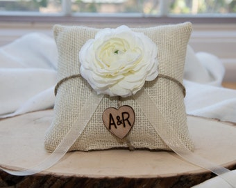 White Ranunculus custom ivory burlap ring bearer pillow  shabby chic with engraved heart  initials... many more colors available