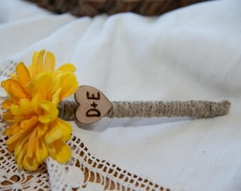 Shabby Chic Personalized Yellow Flower Guest Book Pen with wood heart with bride and groom initials over 60 flowers to select from