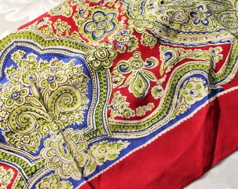 Large Arabesque Square Scarf Red Blue Greens and White