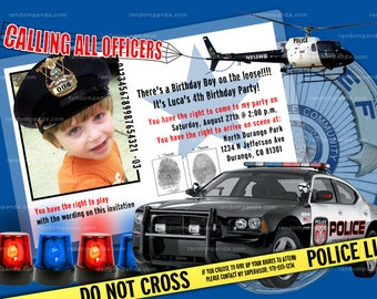 Personalize POLICE Party Invitation - ADD Policeman Hat
