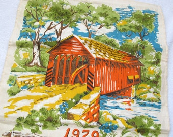 SALE Linen 1979 calendar tea towel covered bridge / new unused / covered bridge tea towel / covered bridge linen tea towel /