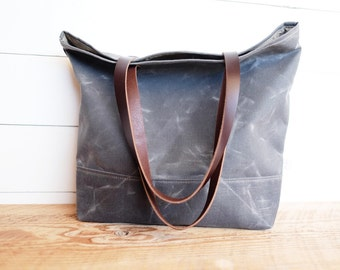 Waxed Canvas Simple Tote | Slate Grey
