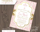Baptism invitation, printable Baptism invite, Baby girl baptism invitation, Baptism Address label